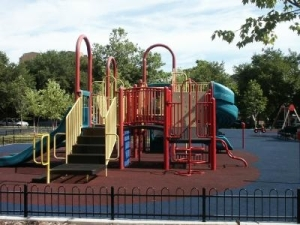 The playground equipment seen here will undergo a transformation on June 25th.
