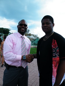 Terrell Walsh and Sultan Adepoju pose together after the Senior Luncheon.  (Photo Credit: Alexander Roi)