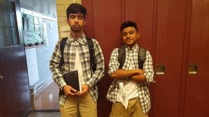 Junior Alejandro Santos and Francisco Garcia participate in Twin Day