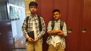 Junior Alejandro Santos and Francisco Garcia participate in Twin Day