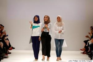 The Zulkifli sisters on the Runway of London Fashion Week