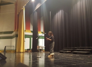 Freshman Kennedy Wilson practicing her act